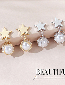 Fashion K Gold Real Gold Plated Small Pearl Earrings