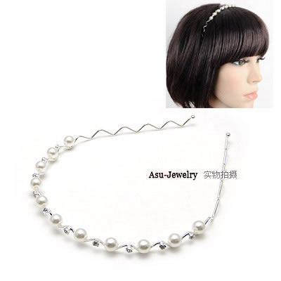 Plaid White Small Diamond Hoop Pearl Hair band hair hoop