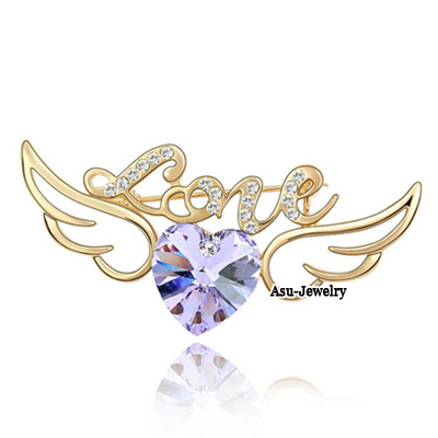 Summer Light Plum Red & Rose Gold Diamond Decorated Peacock Shape Design Alloy Crystal Brooches