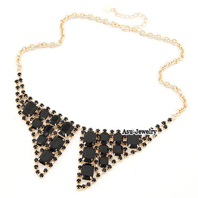 Fashion Black+gold Color Water Drop Shape Decorated Necklace