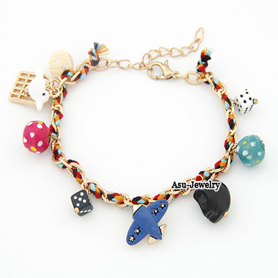Chiropract Multicolour Cartoon Pendant Alloy Korean Fashion Bracelet