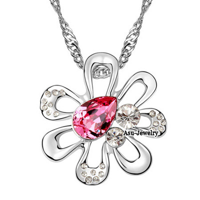 Elegant Plum Red In The Heart A Commitment Design Austrian Crystal Crystal Necklaces