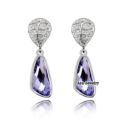 Exquisite Olive Wintersweet Shape Decorated Simple Design  Cuprum Crystal Earrings