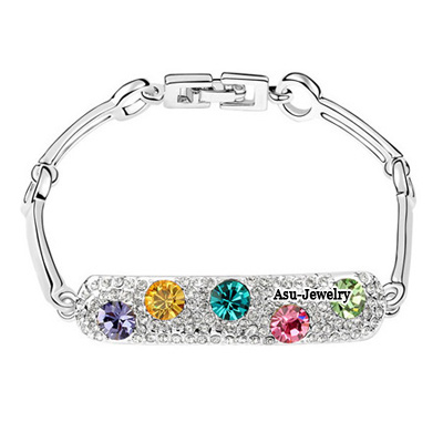 Adjustable Multicolor Diamond Decorated Leaf Shape Design Zircon Crystal Bracelets