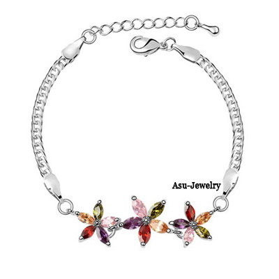 Printed Rose + blue + violet Purple Bracelet Alloy Crystal Bracelets