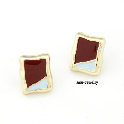 Elegant Brown Oval Shape Decorated Simple Pure Color Earrings