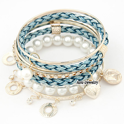 Personality Gold Color Leaf&pearls Decorated Opening Bracelet