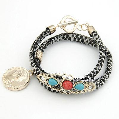 Personality Coffee Round Shape Pendant Design Multi-layer Bracelet