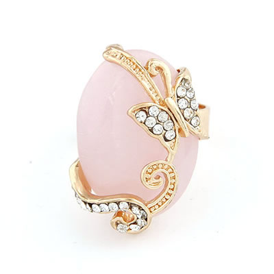 Dreamlike Pink Butterfly Alloy Korean Rings