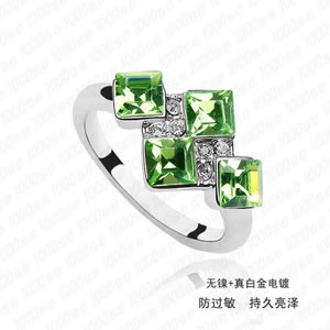 Fashion Silver Color Diamond Decorated Hollow Out Design Simple Ring