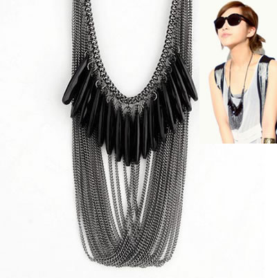 Fashion White K Butterfly Queen Embossed Snake Multilayer Necklace