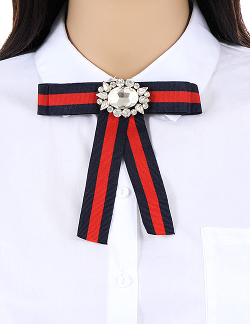 6a69a4947 Trendy Red+navy Diamond Decorated Bowknot Shape Brooch:Asujewelry.com