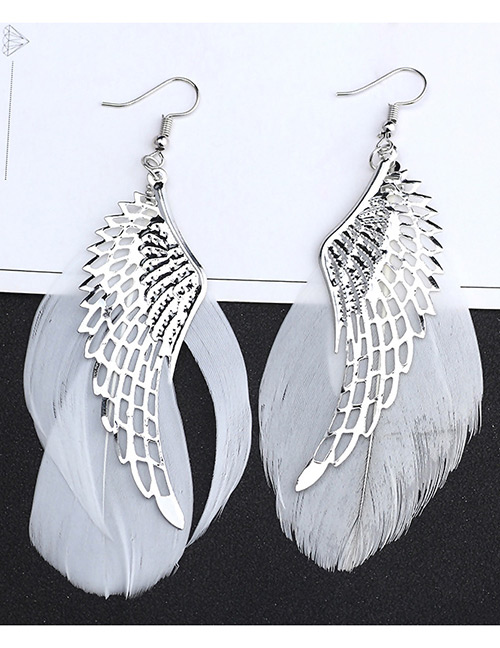 Fashion Silver Color Feather&wings Decorated Simple Earrings
