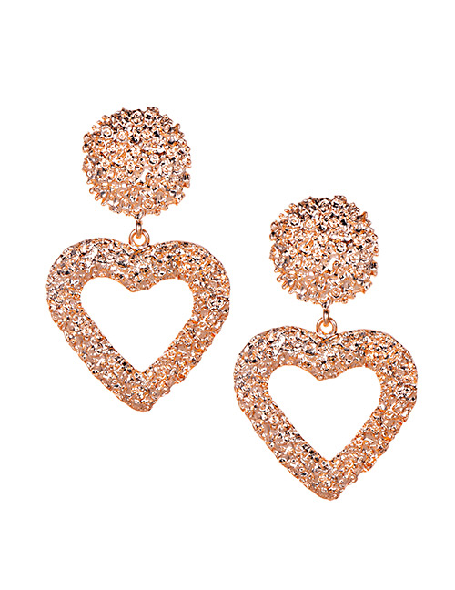 Fashion Rose Gold Alloy Hollow Love Earrings