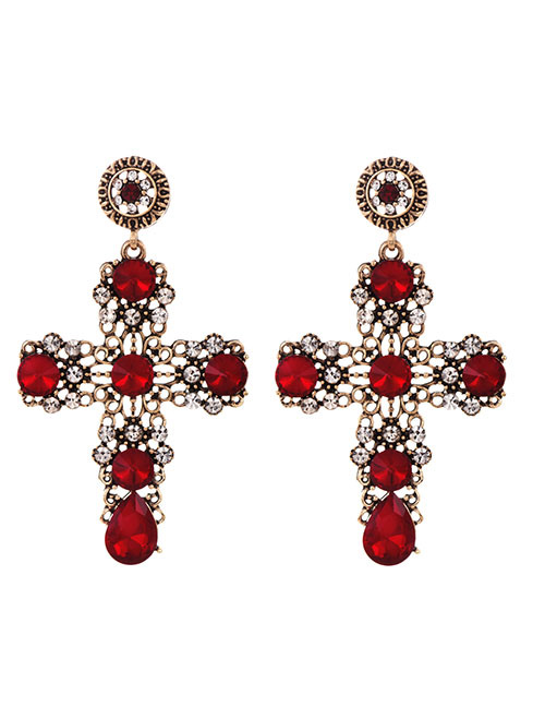 Fashion Red Alloy Stud Earrings
