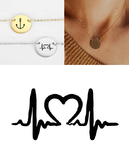 Fashion Steel Color Stainless Steel Engraved Ecg Adjustable Necklace 13mm