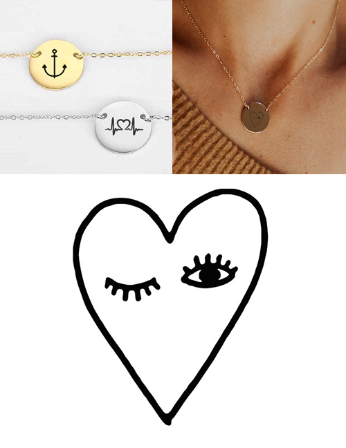 Fashion Steel Color Stainless Steel Carved Eye Adjustable Necklace 13mm