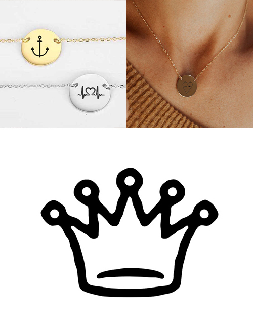 Fashion Steel Color Stainless Steel Engraved Crown Adjustable Necklace 13mm