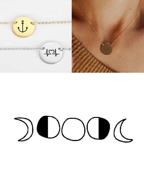 Fashion Steel Color Stainless Steel Engraved Geometric Adjustable Necklace 13mm
