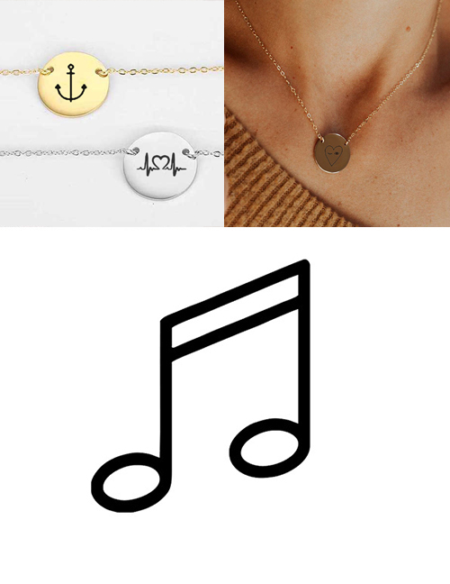 Fashion Steel Color Stainless Steel Engraved Music Adjustable Necklace 13mm