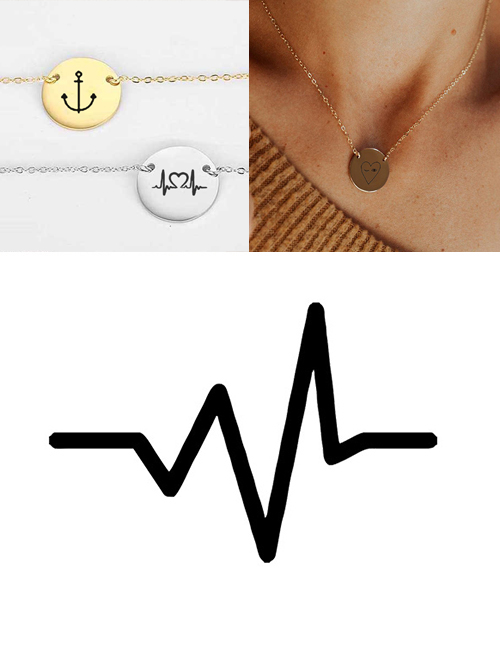Fashion Golden Stainless Steel Engraved Electrograph Adjustable Necklace 13mm