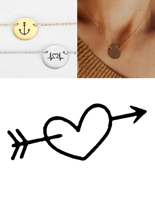 Fashion Golden Stainless Steel Engraved Necklace Adjustable Necklace 13mm