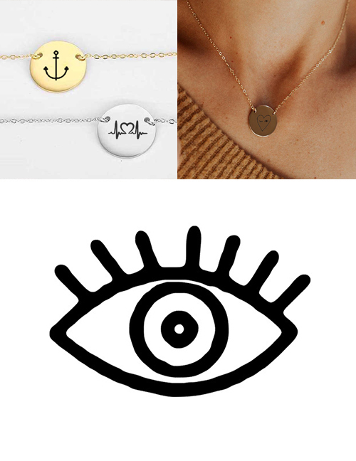 Fashion Golden Stainless Steel Engraved Eye Adjustable Necklace 13mm