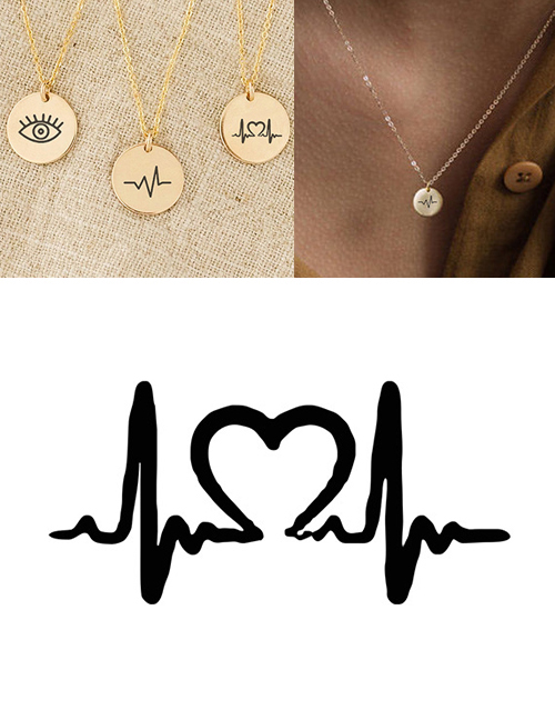 Fashion Golden Stainless Steel Engraved Ecg Adjustable Necklace 9mm