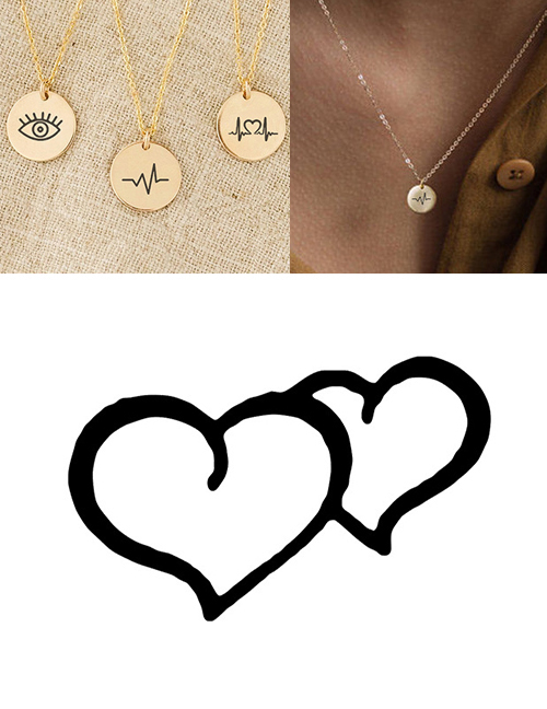 Fashion Golden Stainless Steel Carved Double Love Adjustable Necklace 9mm