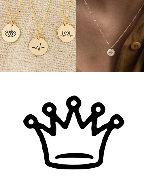 Fashion Golden Stainless Steel Carved Crown Adjustable Necklace 9mm