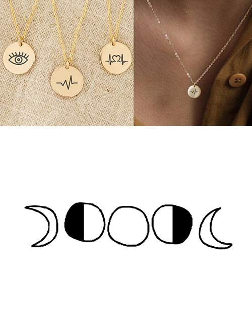 Fashion Golden Stainless Steel Engraved Geometric Adjustable Necklace 9mm