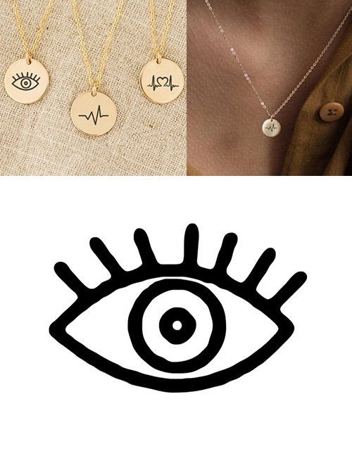 Fashion Rose Gold Stainless Steel Engraved Eye Adjustable Necklace 9mm