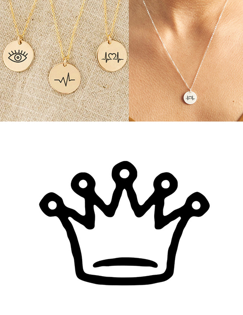 Fashion Steel Color Stainless Steel Single Hole Engraved Crown Adjustable Necklace 13mm