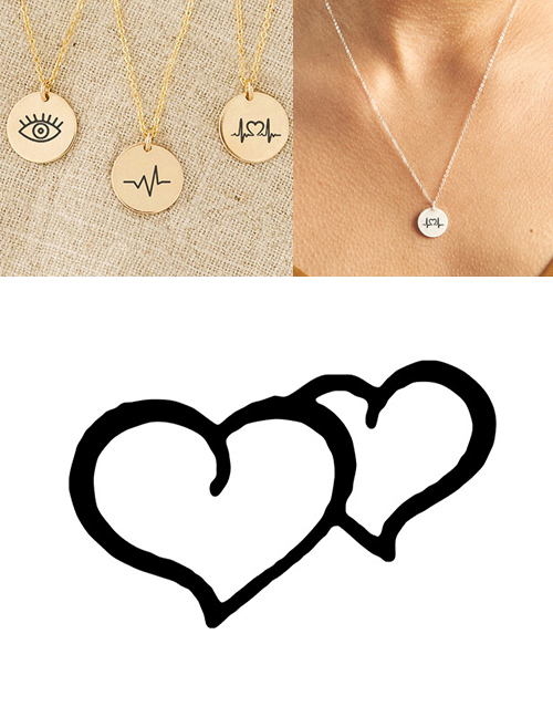 Fashion Golden Stainless Steel Single Hole Engraved Double Love Adjustable Necklace 13mm