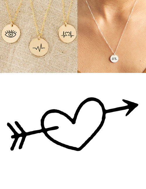 Fashion Golden Stainless Steel Single Hole Carved With An Arrow Through The Heart Adjustable Necklace 13mm
