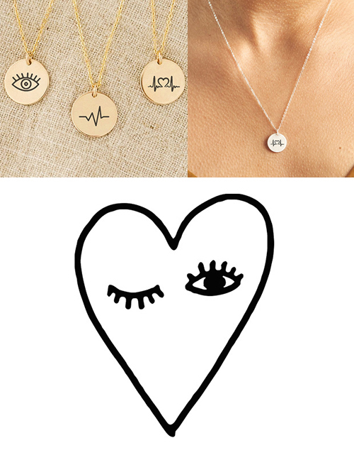 Fashion Golden Stainless Steel Single Hole Carved Eye Adjustable Necklace 13mm