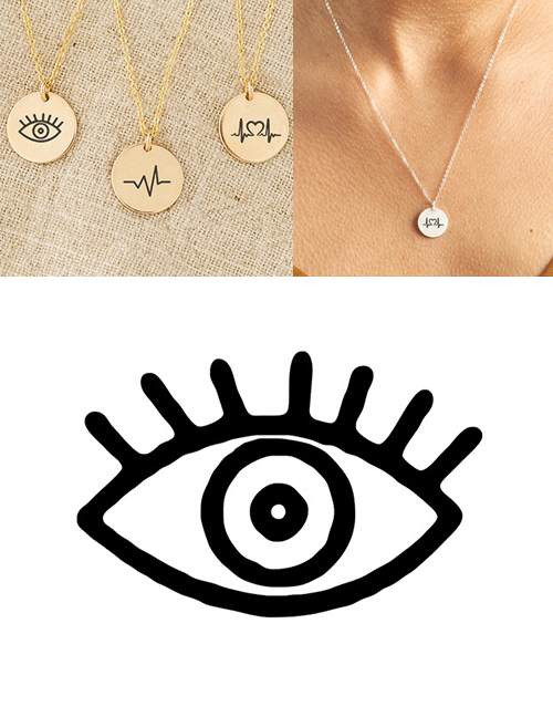 Fashion Golden Stainless Steel Single Hole Engraved Eye Adjustable Necklace 13mm