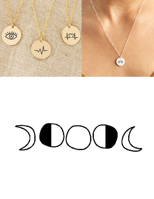 Fashion Golden Stainless Steel Single Hole Engraved Geometric Adjustable Necklace 13mm