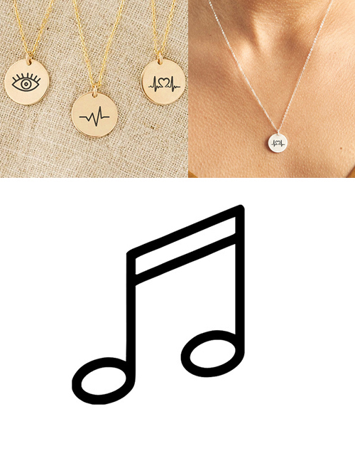 Fashion Rose Gold Stainless Steel Single Hole Engraved Music Adjustable Necklace 13mm