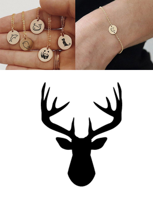 Fashion Steel Color-antlers Titanium Steel Plated Stainless Steel Geometric Round Carved Animal Bracelet 9mm