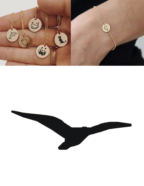 Fashion Steel Color-seagull Titanium Steel Plated Stainless Steel Geometric Round Carved Animal Bracelet 9mm