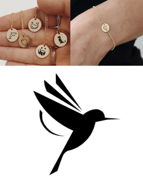 Fashion Steel Color-woodpecker Titanium Steel Plated Stainless Steel Geometric Round Carved Animal Bracelet 9mm