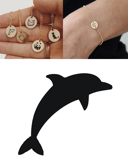 Fashion Steel Color-dolphin Titanium Steel Plated Stainless Steel Geometric Round Carved Animal Bracelet 9mm