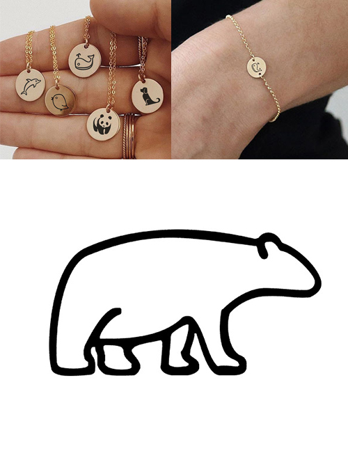 Fashion Golden-polar Bear Titanium Steel Plated Stainless Steel Geometric Round Carved Animal Bracelet 9mm
