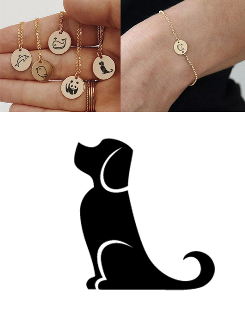Fashion Golden-puppy Titanium Steel Plated Stainless Steel Geometric Round Carved Animal Bracelet 9mm