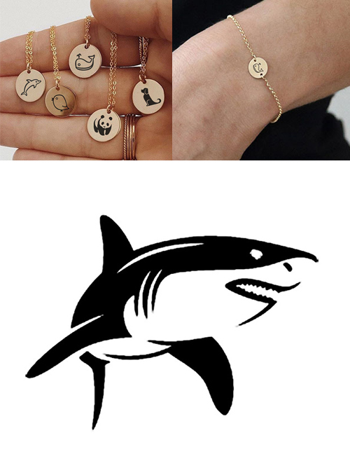 Fashion Golden-shark Titanium Steel Plated Stainless Steel Geometric Round Carved Animal Bracelet 9mm
