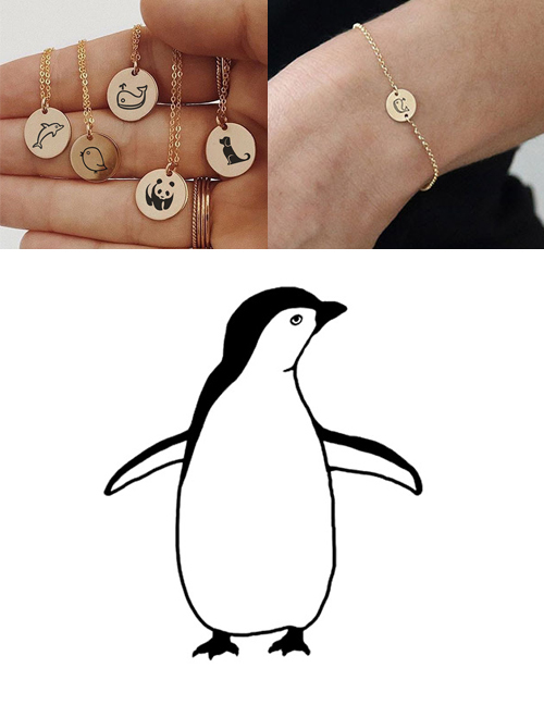 Fashion Rose Gold-penguin Titanium Steel Plated Stainless Steel Geometric Round Carved Animal Bracelet 9mm