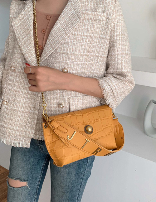 Fashion Yellow Stone Shoulder Crossbody Bag