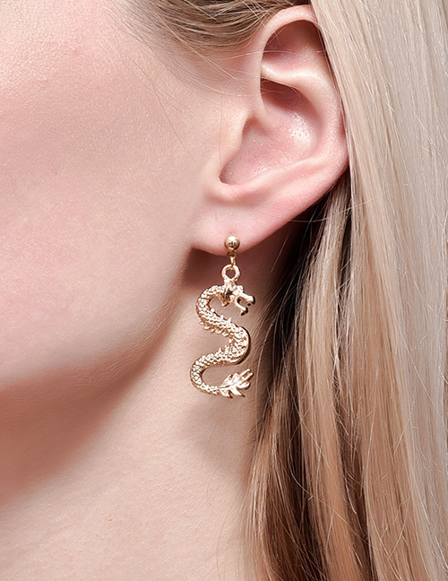 Fashion Gold Color Color Totem Dragon Alloy Earrings