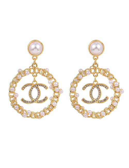 Fashion Gold Color Alloy Diamond Pearl Chain Letter Earrings:Asujewelry.com